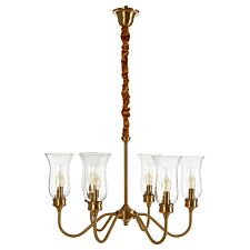 Premier Housewares Zissi Ceiling Light in Gold with 6 Curved Glass Shades