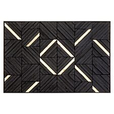 Premier Housewares Modello Wall Art with Wood Carving Panels - Gold/Black Finish
