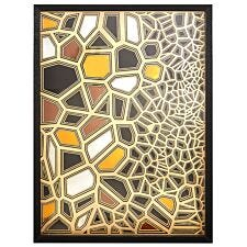 Premier Housewares Modello Fractured Paper Sculpture Wall Art - Black/Gold Finish