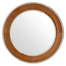 Premier Housewares Churchill Wall Mirror in Genuine Tan Leather