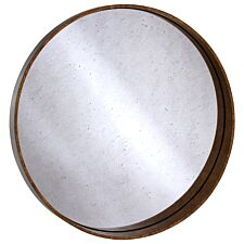 Premier Housewares Colton Round Wall Mirror - Antique Gold Finish