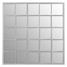 Premier Housewares Descartes Square Wall Mirror - Silver Finish