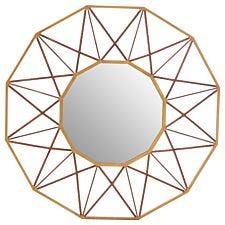 Premier Housewares Zariah Geo Wall Mirror - Antique Gold Finish