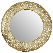 Premier Housewares Templar Wall Mirror with Pebble Effect - Brass Finish