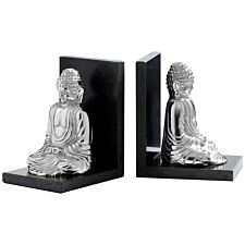 Premier Housewares Buddha Set of 2 Bookends in Silver Nickel Finish with Black Marble Bases