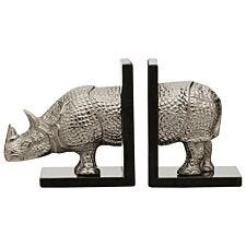 Premier Housewares Rhino Set of 2 Bookends in Silver Finish with Marble Bases