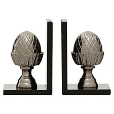 Premier Housewares Acorn Set of 2 Bookends in Silver Nickel Finish with Marble Bases