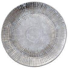 Premier Housewares Embra Round Ceramic Plate - Grey/Silver Finish