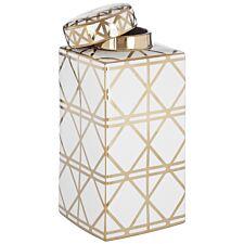 Premier Houseswares Kya Large Ceramic Jar - White/Gold Finish