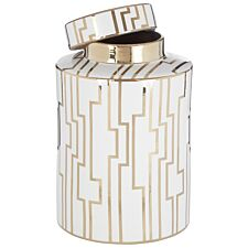 Premier Housewares Ariana Large Ceramic Jar - White/Gold Finish