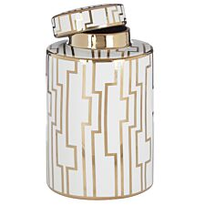 Premier Housewares Ariana Small Ceramic Jar - White/Gold Finish