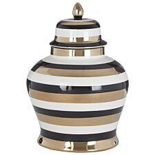 Premier Housewares Zeina Small Ceramic Jar - White/Black/Gold Finish