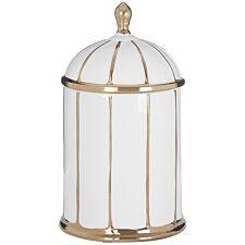 Premier Housewares Coletta Medium Ceramic Jar - White/Gold Finish