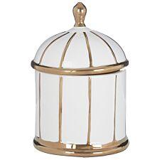 Premier Housewares Coletta Small Ceramic Jar - White/Gold Finish