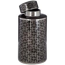 Premier Housewares Daria Large Ceramic Jar - Black/Silver Finish