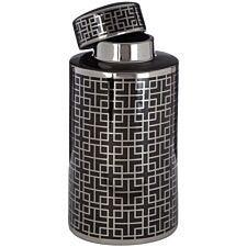 Premier Housewares Daria Small Ceramic Jar - Black/Silver Finish