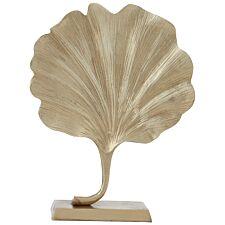 Premier Housewares Prato Leaf Sculpture - Gold finish Aluminium
