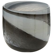 Premier Housewares Carra Glass Planter - Grey/Black Brushstrokes