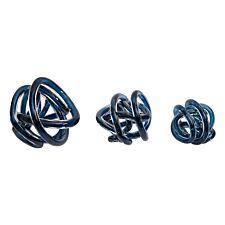 Premier Housewares Knot Set of 3 Decor Ornaments - Blue Glass