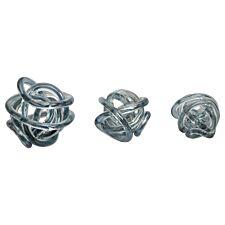 Premier Housewares Knot Set of 3 Decor Ornaments - Grey Glass