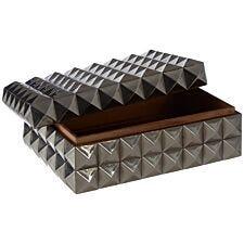 Premier Housewares Lexus Small Trinket Box with Pyramid Studs - Silver Finish
