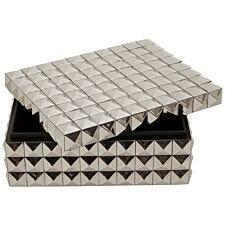 Premier Housewares Lexus Large Trinket Box with Pyramid Studs - Silver Finish