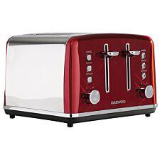 Daewoo SDA1587 Kensington 1750W 4–Slice Toaster – Red