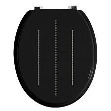 Premier Housewares Black Diamante Detail Toilet Seat With Zinc Alloy Fittings