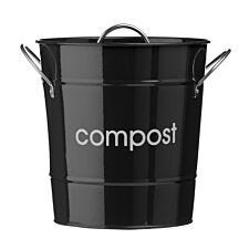 Premier Housewares Compost Bin With Plastic Inner Bucket - Black