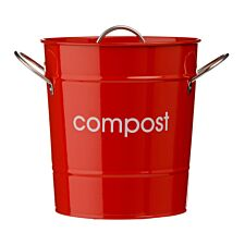 Premier Housewares Compost Bin With Plastic Inner Bucket - Red