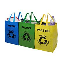 Premier Housewares Plastic/Glass/Paper Recycle Bags - Set of 4