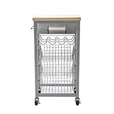 Hahn Sandon Grey Kitchen Trolley with Wood Top