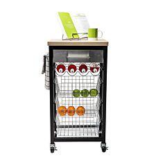 Hahn Sandon Black Kitchen Trolley with Wood Top
