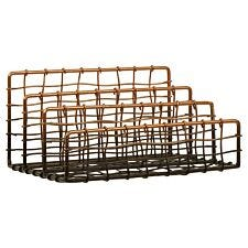 Maison by Premier Mimo Wire Letter Rack - Black/Rose Gold Finish