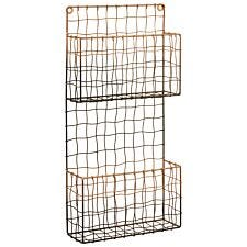 Interiors by Premier Mimo Wire Wall Mounted Magazine Rack - Black/Rose Gold Finish