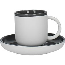 La Cafetiere Ceramic Barcelona Coffee Cup and Saucer - Cool Grey 300ml