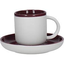La Cafetiere Ceramic Barcelona Coffee Cup and Saucer - Plum 300ml
