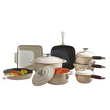 Cooks Professional Deluxe 8-Piece Cast Iron Cookware Set - Cream