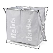Beldray 2 Compartment Folding Laundry Hamper - Grey