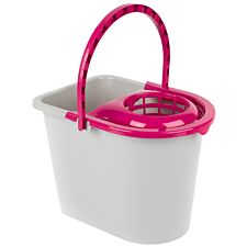 Kleeneze Bucket With Mop Wringer And Carry Handle 14L - Plastic Grey/Pink