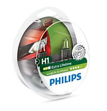 Philips LongLife EcoVision H1 Car Headlight Bulb - Twin Pack