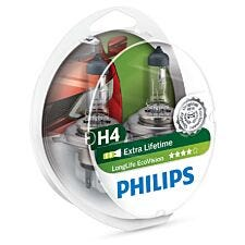 Philips LongLife EcoVision H4 Car Headlight Bulb - Twin Pack