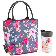 Summerhouse Gardenia Lunch Tote & Travel Mug Set