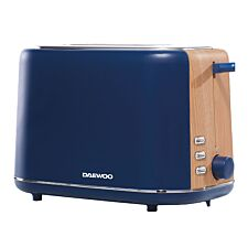 Daewoo SDA1740 800W Stockholm 2–Slice Toaster with Wood Effect – Navy Blue