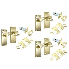 Select Hardware Project Scroll Door Handle 3 Pair Pack - Brass Plated