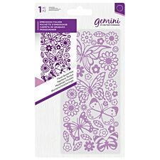 "Gemini Embossing Folder 5.75"" x 2.75"" - Floral Butterflies"
