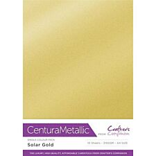 Crafter's Companion Centura Pearl Metallic A4 Single Colour 10 Sheet Pack - Solar Gold