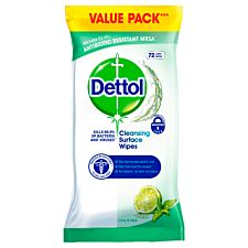 Dettol Lemon & Mint Antibacterial Surface Cleanser Wipes - 72