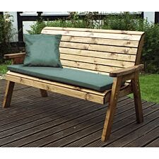 Charles Taylor Three Seater Winchester Bench with Green Cushions and Fitted Cover