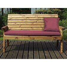 Charles Taylor Three Seater Winchester Bench with Burgundy Cushions and Fitted Cover